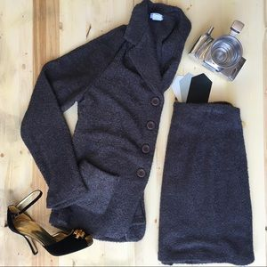 Vintage 2 Piece Sweater Blazer Skirt Set